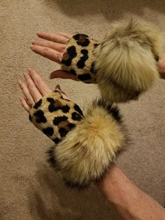 UNIQUE Fingerless Leopard Print Gloves with REAL Kit Fox Fur Tail cuff by Mevalene on Etsy
