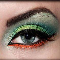 daring green and orange eye makeup!