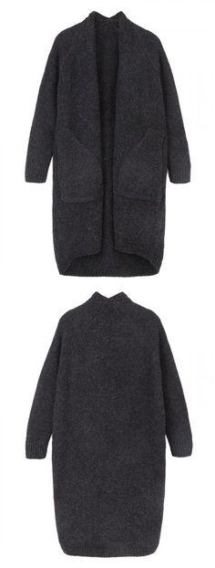Black Collarless Mix Yarn Knit Longline Cardigan-CHOIES