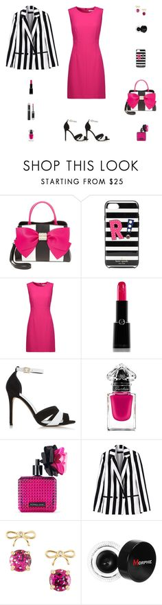 """Contest: Black, White & Fuchsia Striped Outfit"" by billsacred ❤ liked on Polyvore featuring Betsey Johnson, Kate Spade, Diane Von Furstenberg, Giorgio Armani, Dune, Guerlain, Victoria's Secret and Morphe"