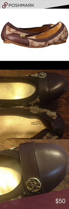 Coach Chelsey flats brown size 8 Coach Chelsey flats brown size 8. Brown with the signature logo. Good condition Coach Shoes Flats & Loafers