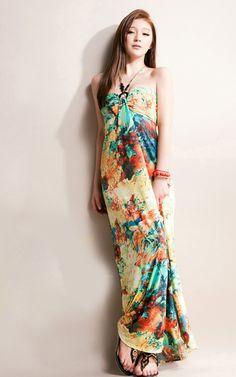Halter Strapless Floral Imprint Dress