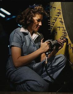 """1940s Ladies Workwear Clothes: 1942 a real """"Rosie"""" at work #WW2 #1940s"""
