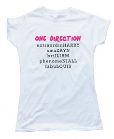 ONE DIRECTION BAND MEMBER NAMES design silscreened onto a Gildan Softstyle white tee shirt for wowomen. Printed on 100% Ring-Spun Cotton and printed with water-based inks for ultra-softness. Euro style fit in neck shoulders and sleeves, Double needle sleeves and bottom hem. These shirts are comfortable, durable and super-soft 4oz cotton!