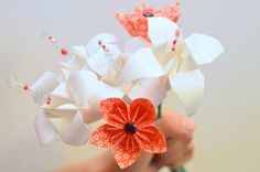 Handmade Paper Flower Bouquet Origami Lilies by bouquetsbyselena, $35.00