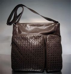 af820265ba01 Bottega Veneta Brown Intrecciato Pilot Messenger Bag. The Attic Place