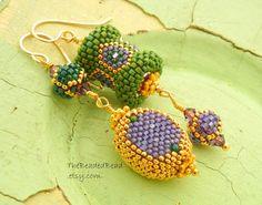 Asymmetrical Earrings Ultimate Mardis Gras by TheBeadedBead Funky Jewelry, Seed Bead Jewelry, Bead Earrings, Jewelry Ideas, Seed Beads, Beaded Jewelry, Crochet Earrings, Jewelry Design, Swarovski