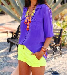 ILY Couture :  Sunburst ombre bubble statement necklace | JCrew :  neon yellow shorts and silk blouse | Zara :  Heels and Handbag | ASOS :  Claw Cuff Bracelet