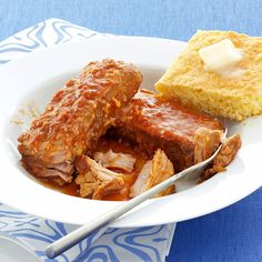 Slow Cooked BBQ Pork Ribs Recipe -Check your pantry; you probably have everything needed to turn these ribs into a sweet, tangy, fork-tender treat. —Annette Thompson, Woodbury, Vermont