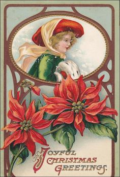 Joyful Christmas greetings, Profile of woman wearing bonnet, hand muff, Poinsettias, PU-1910 Item# SCVIEW266081 (221541189)