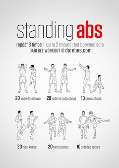 #Instructions: Repeat each move with no rest in between until the set is done, rest up to 2 minutes and repeat the whole set again 3 times. #What it works: Front abs (Rectus Abdominis), Lateral abs (External Obliques), Internal Obliques, Transverse Abdominis (Core), front hip flexors, side hip flexors, quads, calves, cardiovascular system.