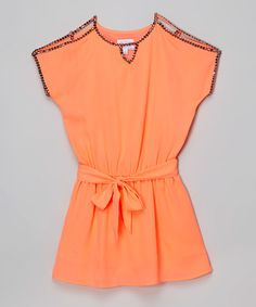Coral Stud Notch Neck Dress - Girls on #zulily! #zulilyfinds