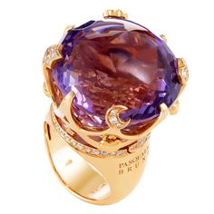 Pasquale Bruni Sissi Amethyst Diamond Gold Ring | From a unique collection of vintage cocktail rings at https://www.1stdibs.com/jewelry/rings/cocktail-rings/
