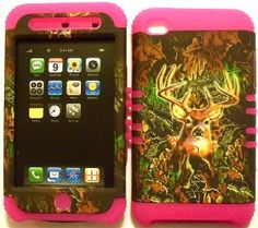 Amazon.com: Camo Deer on Silicone Skin for Apple ipod Touch iTouch 4G 4 Hybrid 2 in 1 Rubber Cover Hard Case-Pink: MP3 Players & Accessories