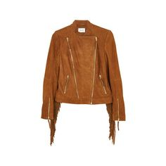 Gestuz Fringed Suede Jacket (8.294.335 IDR) ❤ liked on Polyvore featuring outerwear, jackets, brown, brown moto jacket, brown fringe jacket, suede leather jacket, suede fringe jackets and fringe motorcycle jacket
