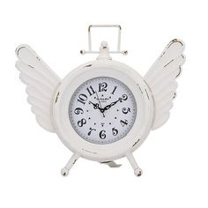 Don't we know it, time sure does fly!  So have some fun with this charming little table clock, rendered in distressed white iron with a pair of whimsical wings