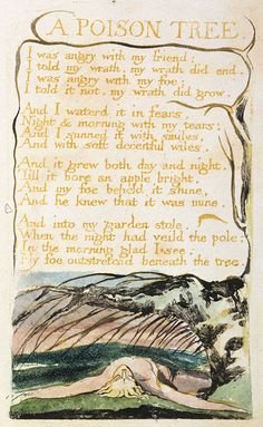 William Blake (English, Songs Of Innocence and Of Experience: Shewing the Two Contrary States of the Human Soul, circa More William Blake on hideback Poison Tree Poem, Poetry Quotes, Words Quotes, Sayings, Poetry Art, Blake Poetry, William Blake Poems, Songs Of Innocence, Free Novels