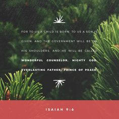 For a child is born to us, a son is given to us. The government will rest on his shoulders. And he will be called: Wonderful Counselor, Mighty God, Everlasting Father, Prince of Peace. Isaiah 9:6