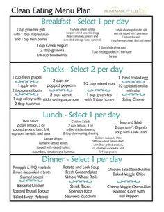 Clean Eating Diet Plan, Clean Eating Snacks, Clean Diet, Diet Snacks, Clean Meals, Easy Diet Plan, Clean Clean, Simple Meal Plans, Clean Meal Plan