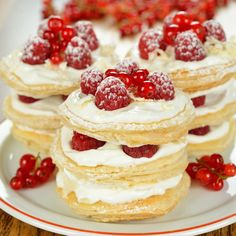 This is a simple recipe for mini mille feuilles stacked in yummy little towers.. Mille Feuilles Recipe from Grandmothers Kitchen.