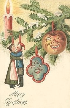 VICTORIAN CHRISTMAS - nothing creepy about these weird, anthropomorphic Christmas ornaments.  Nope.  (Click for more).