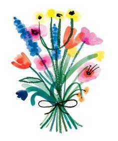Charlotte Trounce // Freelance Illustrator // London, UK // Mixed-Media // Floral Bouquet