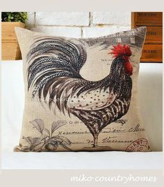 Vintage Rooster Illustration: Linen Throw Pillow Cover – R. French Country Style, French Country Decorating, Cricut, Rooster Illustration, Throw Pillow Covers, Throw Pillows, Fall Pillows, Cushion Covers, Decoupage