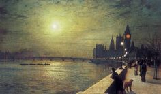 """""""Reflections on the Thames, Westminster"""" by John Atkinson Grimshaw, 1880"""