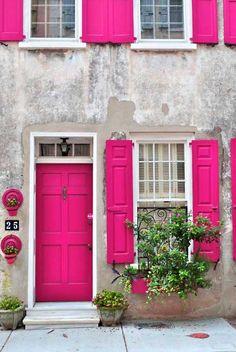 Shocking pink shutters