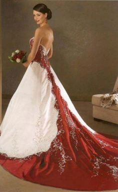 A blast from the past on this red wedding gown. The bride will look like a true queen.