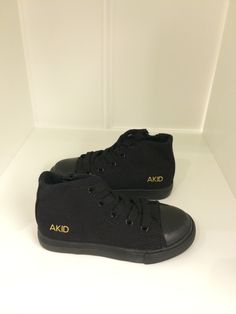 Amazing AKid black sneakers for kids. Perfect everyday wear for boys or girls