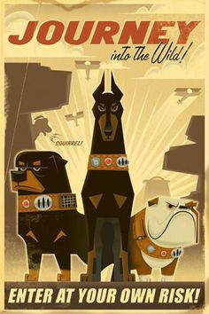JOURNEY INTO THE WILD illustration poster 24X36 DOGS HAPPY cartoon HOT NEW