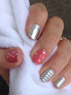 Icy rose polka, metallic chrome, silver and grey stripe