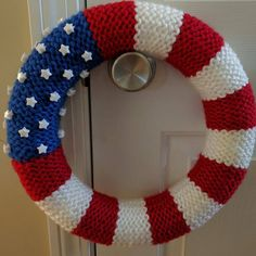 Loom knit a fun American Flag Wreath by Tracy Kelly. Supplies - Knitting Loom; 22 peg Knit UK or 24 peg Knifty Knitter loom, yarn and a styrofoam ring.