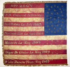 This flag belonged to the 84th Regiment of Infantry, United States Colored Troops. The unit was organized on April 4, 1864, and mustered for service on March 14, 1866. The red stripes bear the regiment's name and number and some of the battles in which the 84th fought. #flagday
