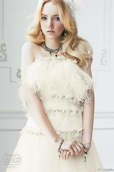Bridal Ivory Cream - ivory wedding dress with feather trim at neckline