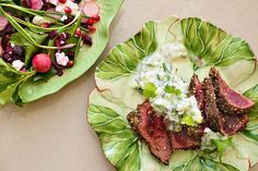 Grilled Ostrich Fillet with Dukkah & Cucumber Yogurt Sauce