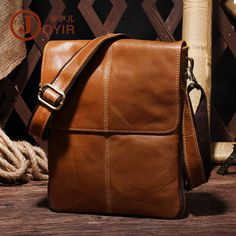 Men Oil Wax Leather Messenger Satchel Cross Body Travel Flap Laptop Shoulder  #JOYIR #LaptopBag