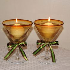 AFTER THE WEDDING  We pride ourselves on our creations serving different needs AFTER THE WEDDING. These Amber Martini Glasses are perfect Wedding Toasting Glasses for the Martini Lover. They are also unique candle holder. They are simply wedding fabulous!