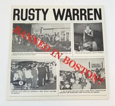 Rusty Warren – Banned In Boston? Vinyl Sales, Vintage Vinyl Records, Shrink Wrap, In Boston, Lp Vinyl, Lps, Say Hello, Comedians, Things That Bounce