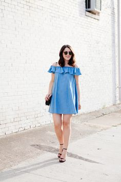 Kendi Everyday: Off The Shoulder Chambray. Generally don't go for ruffled, sleeveless dresses like this, but I love it here!