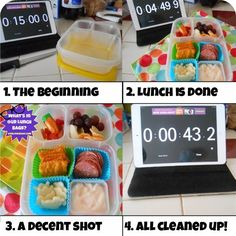 Super cute bento in under 15 minutes! She used a timer, people!
