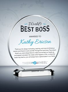 To honor the boss who always stands up for what's right, you can't go wrong with this Boss Appreciation Day Gift. The stunning design on this crystal circle plaque is sure to make this a great gift idea for boss. Thank You Boss Quotes, Farewell Quotes For Boss, Best Boss Gifts, Gifts For Boss, Retirement Messages, Retirement Gifts, Farwell Gifts, Gifts For Nan, Bosses Day Gifts