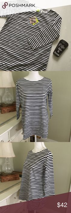 """See Design Black and White Stripe Top This black and white stripe top from see design features scoop neck, 3/4 sleeves and is made of 100% cotton. Size: XS, but rather roomy. Chest: 20.5"""". Length: 27.75"""". see design Tops"""