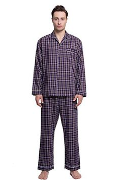 Men s 100% Cotton Yarn Dyed Pajama Sleepwear Set (XL 343a925046a41