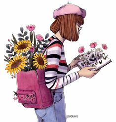 New flowers girl drawing watercolors 53 Ideas Girl Drawing Sketches, Book Drawing, Cartoon Girl Drawing, Cute Drawings, Sunflower Illustration, Illustration Girl, Watercolor Girl, Watercolor Drawing, Backpack Drawing