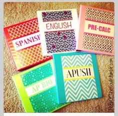 DIY cute binder covers for Boarding School organization