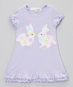 little bits Lavender Bunny Ruffle Dress - Infant, Toddler & Girls by little bits #zulily #zulilyfinds