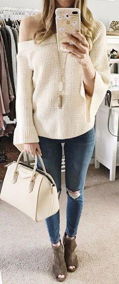 one-shoulder knit + denim: office outfit