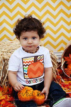 Pumpkin Box Boys Applique Shirt--Personalized